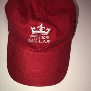 Men Peter Millar Crown Logo Baseball Cap Hat Red